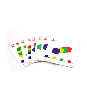 Užduočių kortelės spalvotų kubelių skaičiavimui
