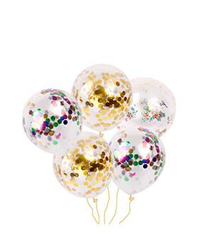 Skaidrūs balionai su konfeti (1 vnt.)