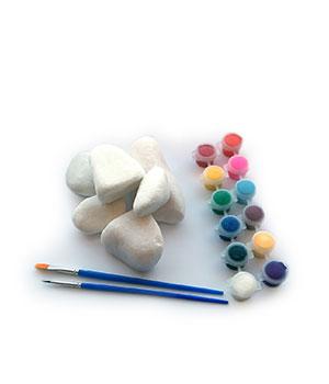 Baltų akmenėlių ir mini guašo rinkinys