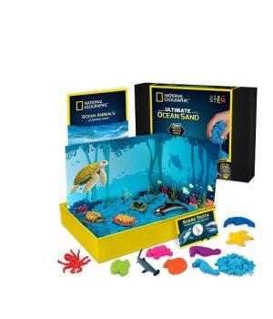 Kinetinis smėlis su formelėmis ir jūros gyvių figūrėlėmis (mėlynas)
