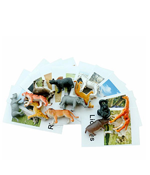 Montessori gyvūnų kortelės su gyvūnų figūrėlėmis