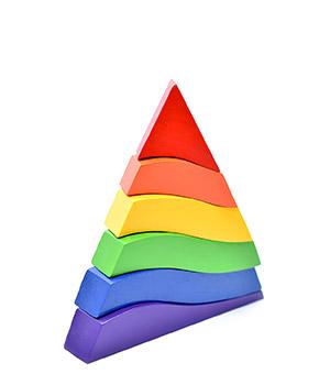 Spalvinga Montessori piramidė