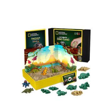 Kinetinis smėlis su formelėmis ir dinozaurų figūrėlėmis